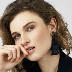 BaubleBar Beaded Studs Black Tassel Earrings